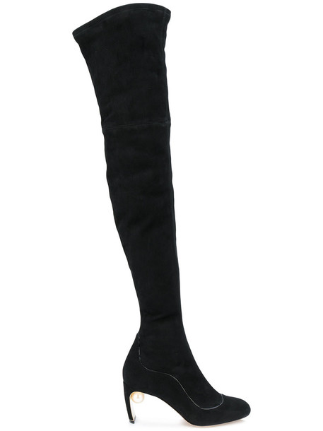 Nicholas Kirkwood women pearl leather suede black shoes