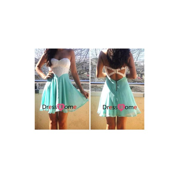 short mint homecoming prom dress