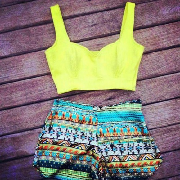 neon short crop tops cool in trend shorts croppped clothes tank top crop tops tribal pattern tribal pattern summer outfits blouse t-shirt