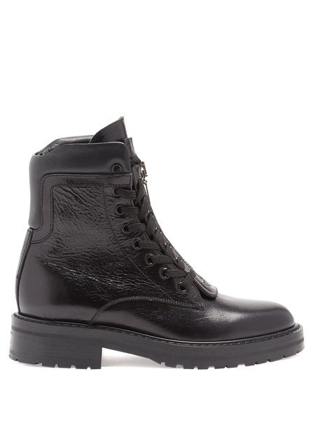 Saint Laurent leather ankle boots ankle boots lace leather black shoes