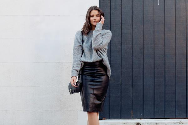 harper & harley blogger cardigan skirt bag shoes leather skirt