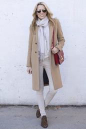 mind body swag,blogger,jeans,scarf,camel coat,ankle boots,satchel bag,celine bag