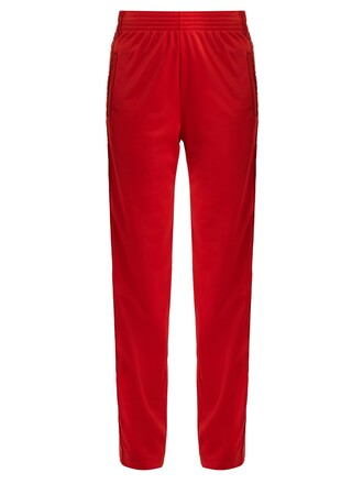 high print red pants