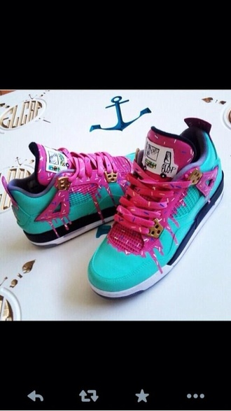 jordans donut pink swag dope bright sneakers shoes blue teal air jordan