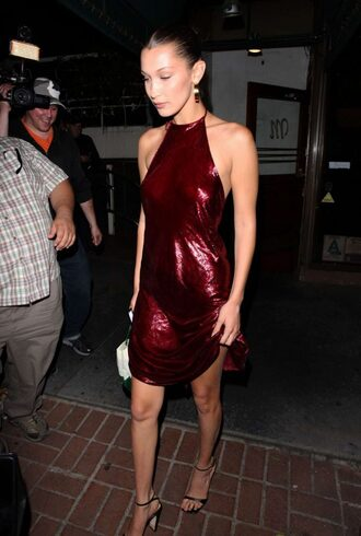 dress sexy sandals backless bella hadid metallic burgundy shoes