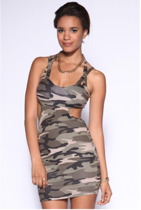 camo dress camouflage dress military dress military style hipster hipster cut-out cut-out dress summer dress sleeveless dress dress camouflage