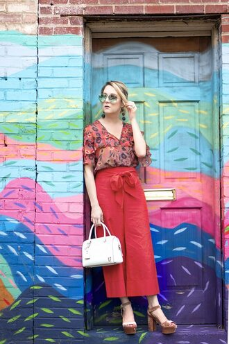 a lacey perspective - a fashion blog based in our nation's capital. blogger shoes bag sunglasses jewels handbag red pants sandals platform sandals summer outfits