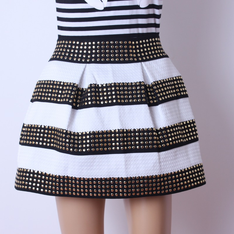 Woman fashion black and white striped bead piece rivets ball gown skirt s002 from foreverfashion on storenvy