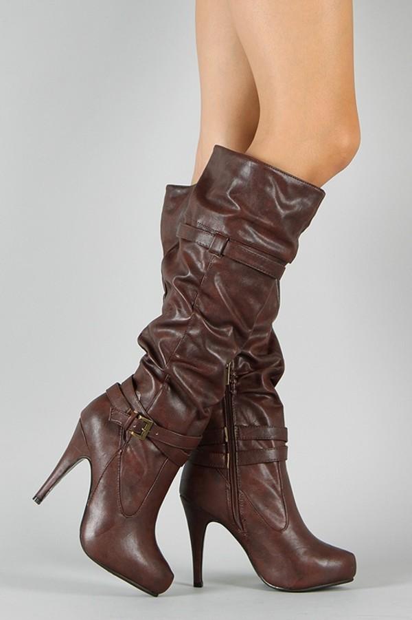 Shoes Brown Boots Knee High Belt Cognac Slouchy