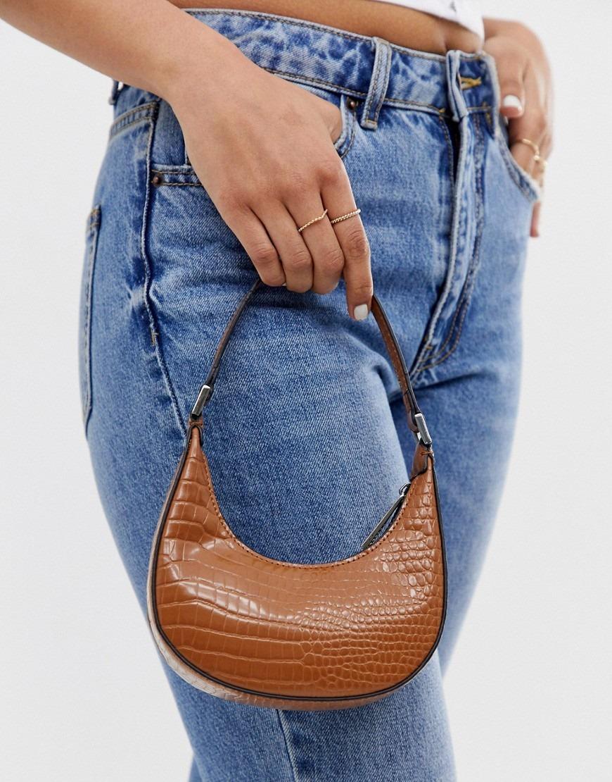 ASOS DESIGN micro 90s bag in croc
