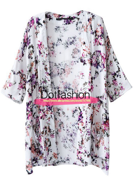 Free Shipping 2014 Summer Women's Hot Top Fashion Women Casual White Half Sleeve Floral Pockets Kimono-in Blouses & Shirts from Apparel & Accessories on Aliexpress.com