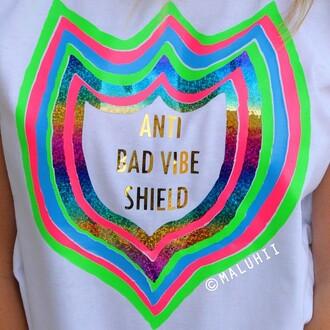 t-shirt anti bad vibe shield anti bad vibe shield tshirt maluhii colourful bohemian clothing boho clothing