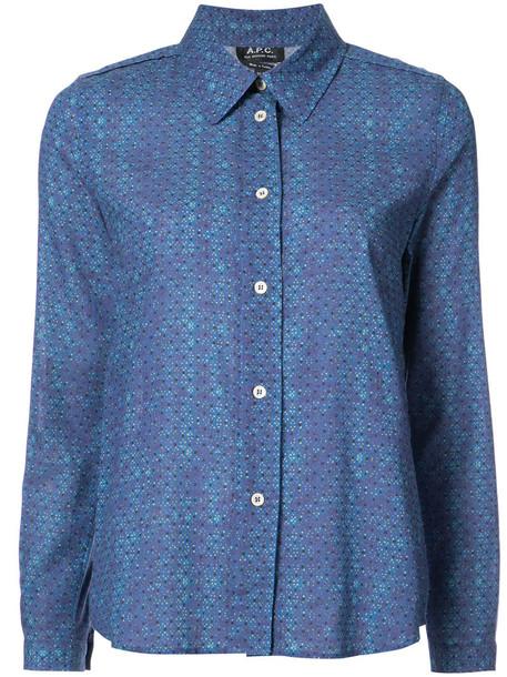 shirt printed shirt women cotton blue top