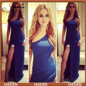 one shoulder blue dress prom dress