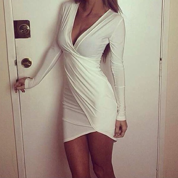 dress white dress besutiful short party dresses bodycon dress white