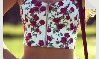 roses red and white crop floral tank top zip-up