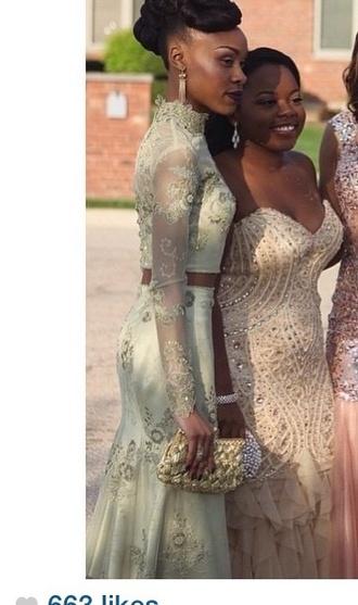 dress two-piece green dress prom dress long prom dress longsleved dress prom gown