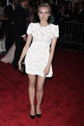 dress,diane kruger,chanel,wihte,white dress,white lace dress
