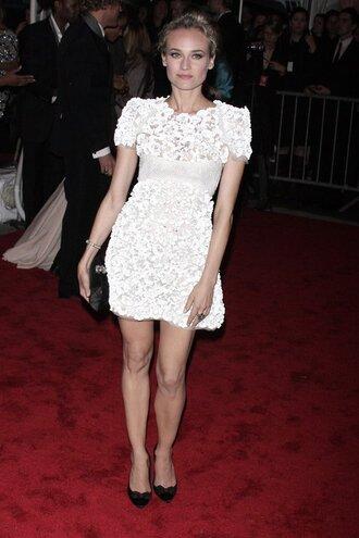 dress diane kruger chanel wihte white dress white lace dress