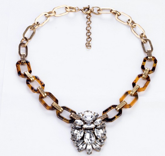 Vintage link chain big crystal pendant sweater necklace wholesale