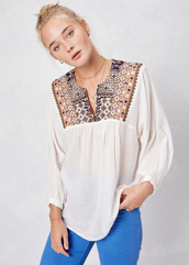 top,lovestitch,blouse,boho,chic,natural,festival,cotton,effortless,lightweight,bohemian,multicolor,embroidered