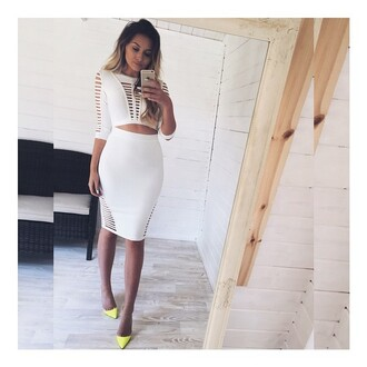 skirt cut-out cut out set cut out 2pc white 2 piece