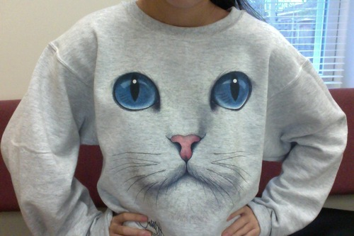 Amazon.com: Cat Face Uni-Sex Sweatshirt: Clothing