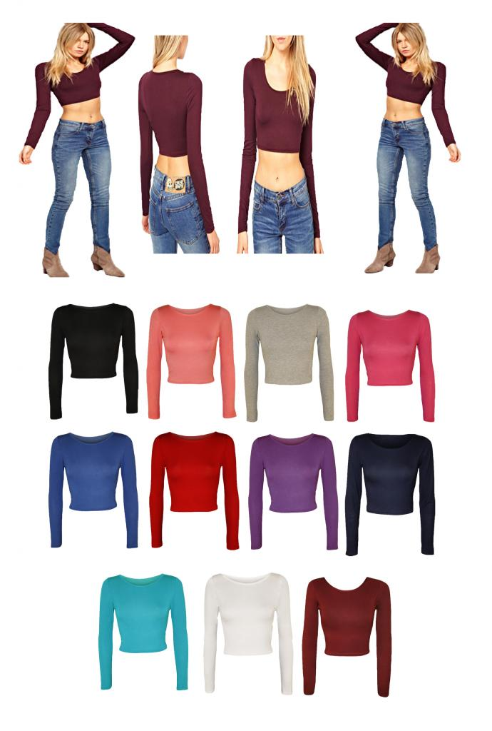 LADIES LONG SLEEVE CREW NECK CROP TOP T SHIRT TOPS WOMENS SCOOP NECK TOP | eBay