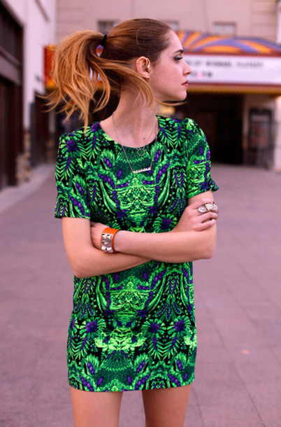 Dress Jungle Print Black Mint