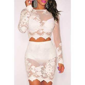 lace two-piece see through party mesh rose wholesale-jan dress girly girl girly wishlist two piece dress set white lace dress