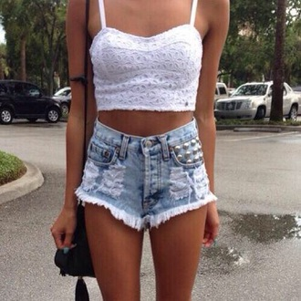 top crochet bralet crop tops white tumblr