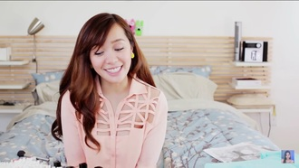 shirt michelle phan cute top pink shirt