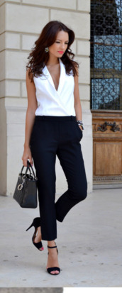blouse,pants,woman blouse,bag,black and white,office outfits,business casual,cute,cute outfits,summer,summer outfits