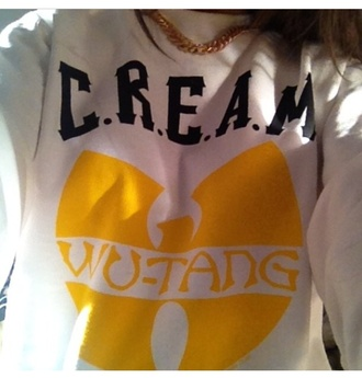 sweater wu-tang clan drake yellow white c.r.e.a.m sweatshirt