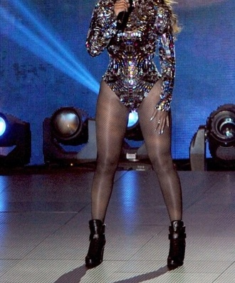 shoes beyonce high heels ring fashion outfit bodysuit tights black heels rhinestones shine beyonce fashion