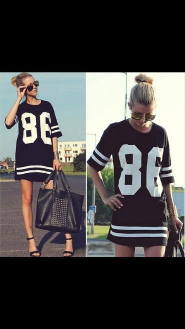 t-shirt t-shirt dress blouse freakum varsity dress dress baseball dress jersey blonde hair black dress white qvc