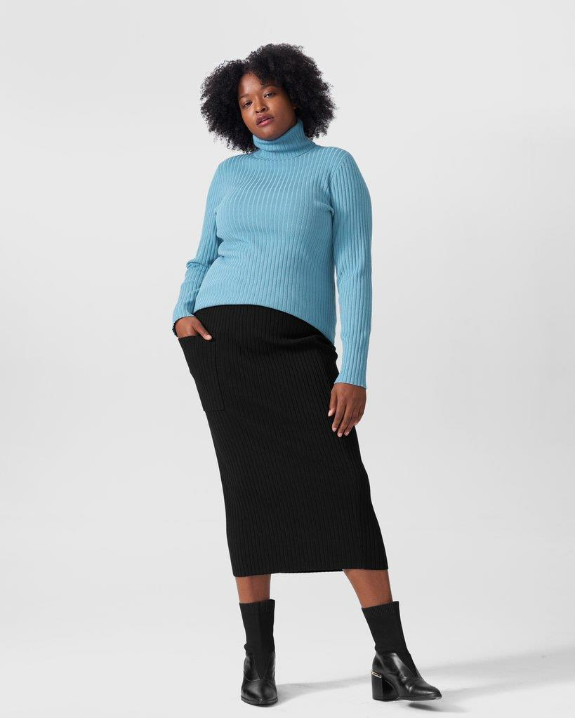 Ana Ribbed Sweater Skirt With Pocket - Black