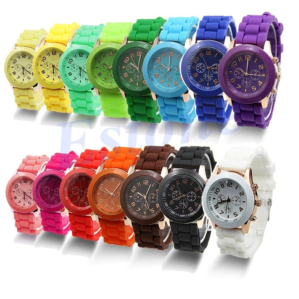 Unisex Women Ladies Boys Girls Geneva Silicone Jelly Golden Quartz Wrist Watch | eBay