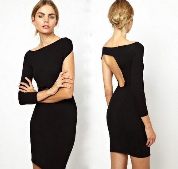 chic style vogue stylish cut-out cut-out little black dress long sleeve bodycon dress ebonylace ebonylace-streetfashion
