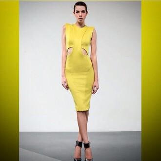 dress zhivago citron yellow dress black dress black 2 piece dress yellow 2 piece dress calf length dress high neck dress black cutout dress cut out dress high-fashion look special occasion dress stunning dress