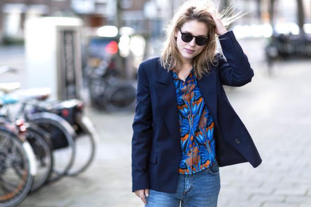 after drk blogger shirt jeans blazer tropical jacket sunglasses