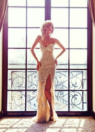 prom sequins gown dress prom dress gold sequins sparkley strapless dress long prom dress long dress gold dress pretty slit dress mermaid prom dress pale sparkly pale glitter dress thigh slit prom gown sequin dress white dress blouse white black checkered blouse shoes