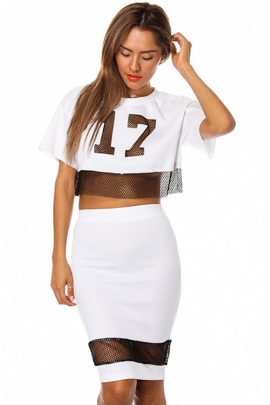 jersey black white skirt set skirt set crop tops mesh shirt mesh top mesh skirt sexy