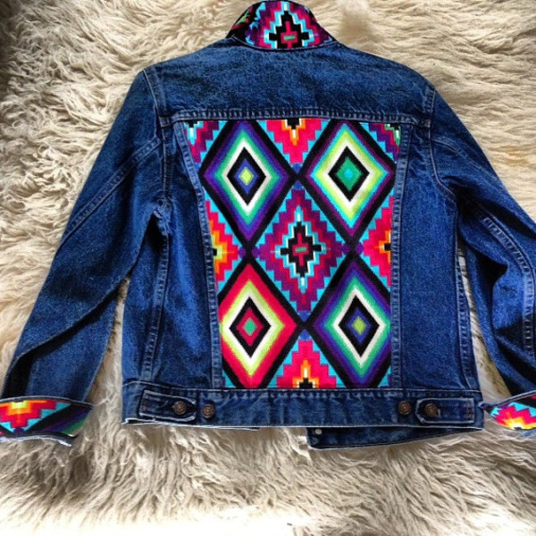 jacket jean jackets denim jacket aztec tribal pattern