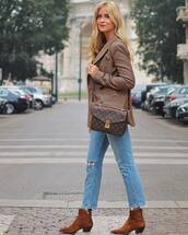 jacket,mens blazer,check blazer,jeans,ripped jeans,cropped jeans,ankle boots,suede boots,shoulder bag