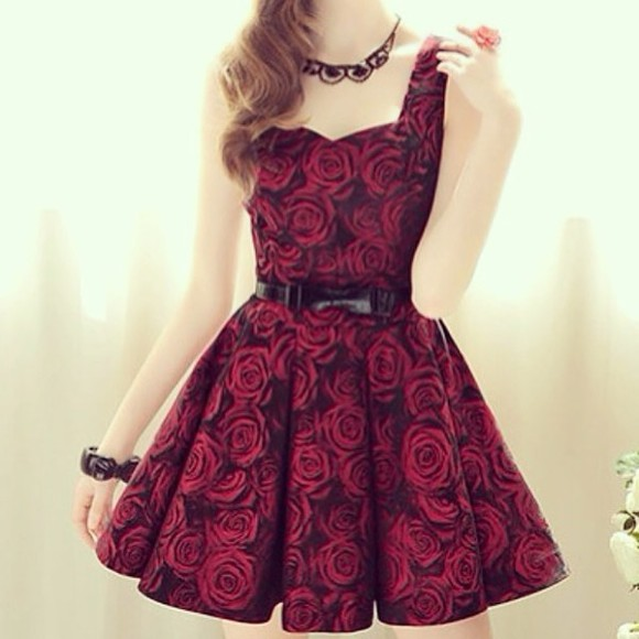 dress red dress blonde hair black flowers
