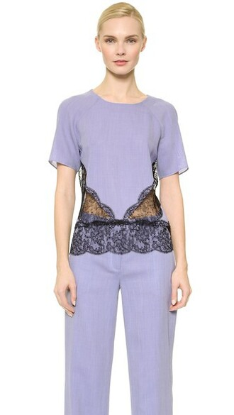 blouse lace blue top