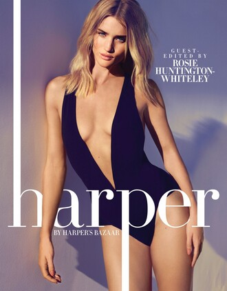 swimwear one piece swimsuit rosie huntington-whiteley editorial plunge v neck