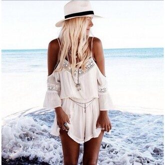 jumpsuit white beach romper v-neck chiffon backless hat sunshine