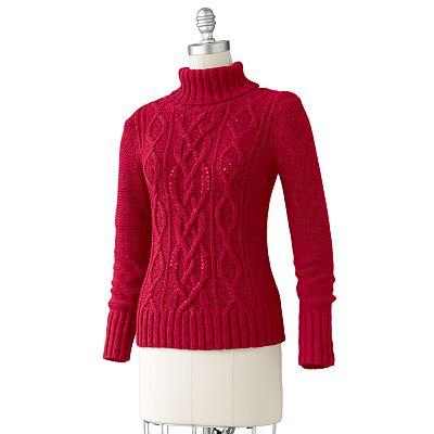 9 Embellished Cable-Knit Turtleneck Sweater